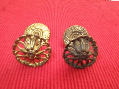 "PAIR Antique Victorian Ornate BRASS DRAWER PULLS / KNOB W/ BACKPLATES 1 1/4"" D"