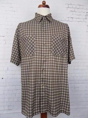 Mens S-Sleeve Vintage 90s Crane Active wear Brown Check Shirt -XL- CC81