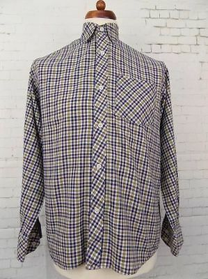 Vintage L-Sleeve Blue / Yellow Checked Casual Indie Urban Shirt -M- CA87