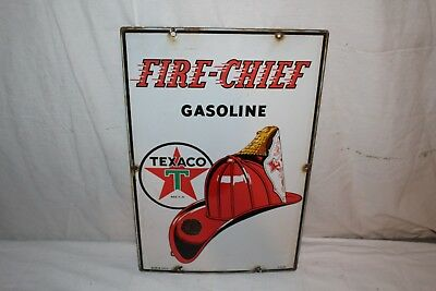 "Vintage 1947 Texaco Fire Chief Gasoline Gas Pump Plate 18"" Porcelain Metal Sign"