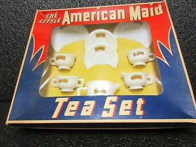 Outstandingly Rare Akro Agate Decaled Miss America Child Tea Set /Original Box
