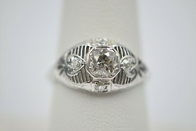 Rare ANTIQUE 0.80TCW E/VVS OLDMINE Round Diamond 3-Stone Filigree Eng.Ring 18KWG