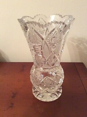 Beautiful Heavy Cut Glass / Crystal Vase (Height - 22.5 cm)
