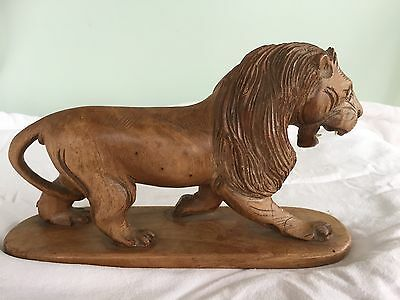Antique Superbly Carved Large Wooden Lion In Good Quality Wood.