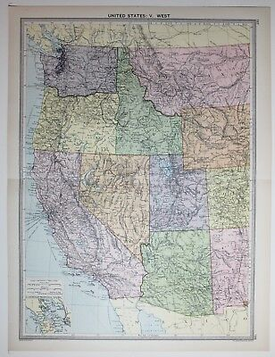 1920 Large Map United States West California Nevada Utah Oregon Arizona