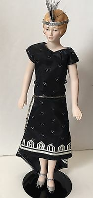 Avon Flapper Doll Porcelain With Stand No Feather Boa or Beads 1989