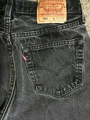 Vintage Men's Levi's 501 Gray / Black Jeans Made in USA Tag 32x30 Measures 30x29