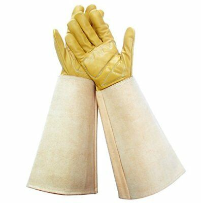 Thorn Proof Gloves for Women, Leather Gardening Gloves with Canvas