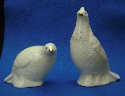 Vintage LENOX China Quail Figural Salt & Pepper Shakers 24K Gold Accents
