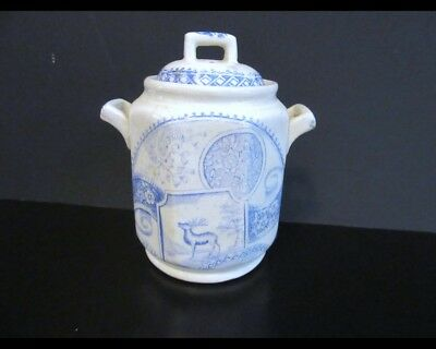 Antique Staffordshire Aesthetic Transfer-ware Sugar Bowl Blue and White Deer