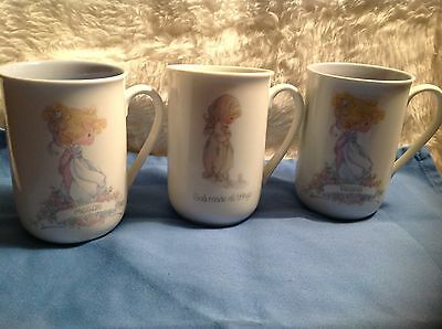 "Lot of 3 Precious Moments name cups/mug Megan, Peggy and  ""God Made all things"""