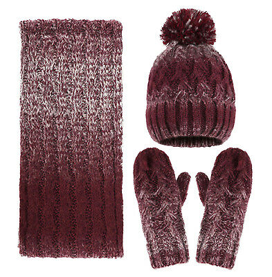 Women Winter 3pc Cable Knit Beanie Hat and Gloves Scarf Set