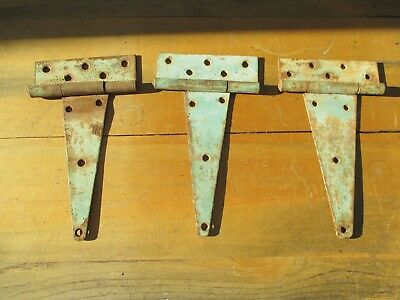 Vintage LARGE Old Metal Barn Door Gate Hinge Rusty Primitive Rustic Set of 3