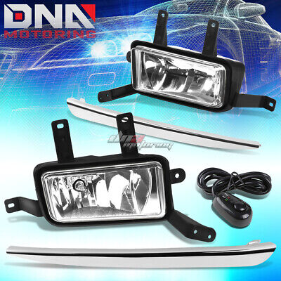 15-18 Tahoe/suburban Chrome Lens Silver Cover Replacement Fog Light+Switch+Bezel