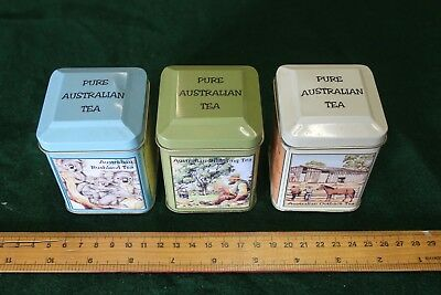 Three Australian tea tins
