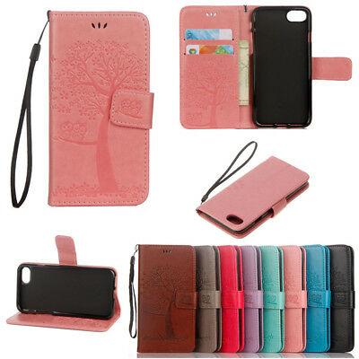 Owl Tree Embossed PU+Leather Magnetic Flip Wallet  Case Cover For iPhone Samsung