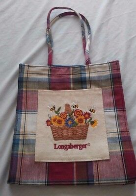 Longaberger Small Plaid Tote Bag Basket Of Flowers Fall
