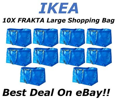 **SALE** 10pc IKEA FRAKTA Large Reusable Eco Shopping Laundry Tote Travel Bags