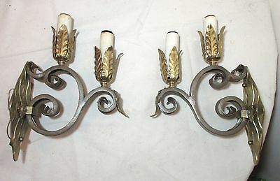 pair of 2 vintage two arm ornate brass wrought iron wall sconce light fixtures