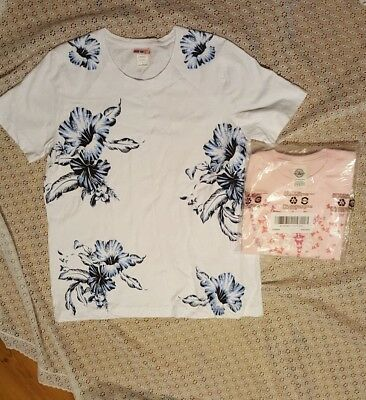 Pair of Women's Size Large TShirts-1 NEW-Butterflies & Tropical Flowers