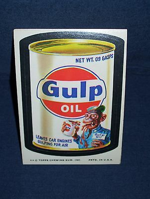 Wacky Pack Gulp Oil Sticker Series Eleven 1974 Tan Back