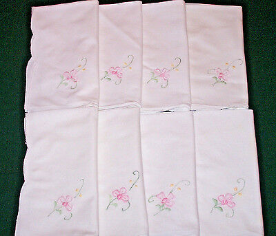 """8 Vintage  Linen Napkins, Floral Embroidery, Snow White, 15"""",  Very Good Cond."""