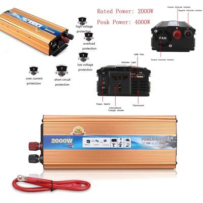 Peak 4000WATT DC 12V AC 220V Car Power Inverter Charger Converter for Electronic