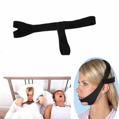 Black Anti Snoring Chin Strap Belt Stop Snore Device Apnea Jaw Support Solution