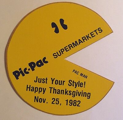 Vintage Pic - Pac Supermarkets Pac Man Sticker 1982 Rare Advertising