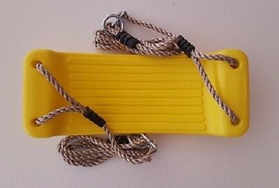 PLASTIC MOULDED SWING SEAT WITH ROPES~YELLOW Cubby Accessories Playground Swing