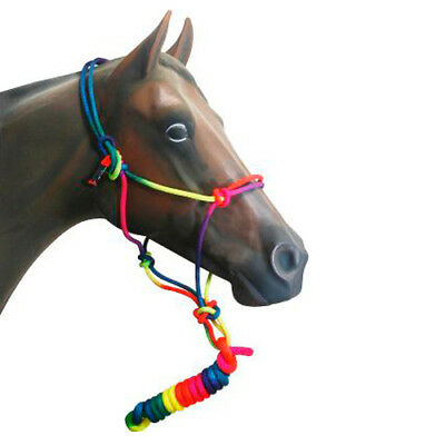 NEW Horse ROPE HALTER With 8 ft Lead Rope RAINBOW COLOURS Cob/Full Size FREE P&P