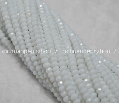 Natural Faceted 2x4mm White jade Gemstone Rondelle Loose Beads Strands 15inch