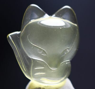 Fox ! Beautiful Natural Citrine Crystal Chinese Hand-Carved Fox Pendant 49cts