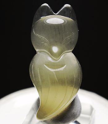 Fox ! Beautiful Natural Citrine Crystal Chinese Hand-Carved Fox Pendant 61cts