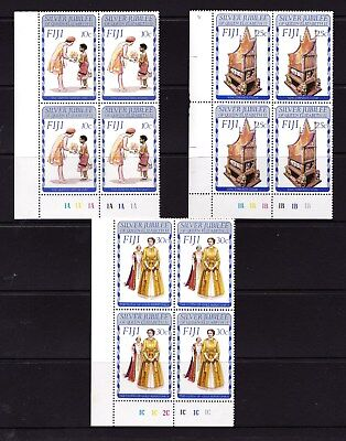 Fiji 1977 Silver Jubilee Set as Corner Blocks of 4 MNH