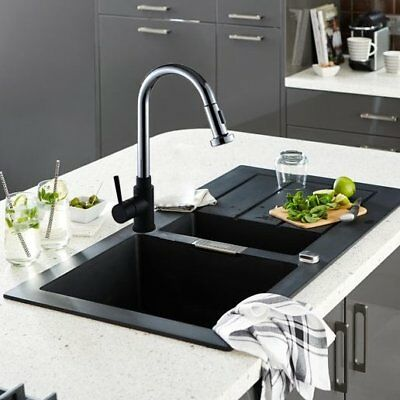 Black & Chrome Kitchen Sink Mixer Tap Swivel Spout Pull Out Spray Single Lever