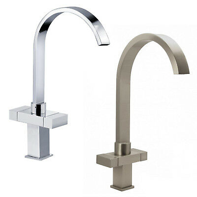 Chrome / Brushed Steel Monobloc Kitchen Mixer Tap Twin Lever Handle Square Tap
