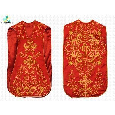 Red Roman chasuble with IHS motif / Size S Embroidered Roman chasuble