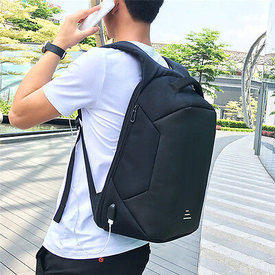 Anti-Theft Mens 15.6'' Laptop Backpack Travel Camping Rucksack USB School Bag