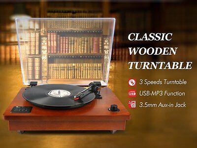 1byone Wooden Bluetooth USB Turntable Vintage Record Player Built-in Speaker