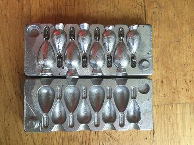 Sinker mould.  Bomb 4x1oz  ,4x1/1/2 Aussie made.