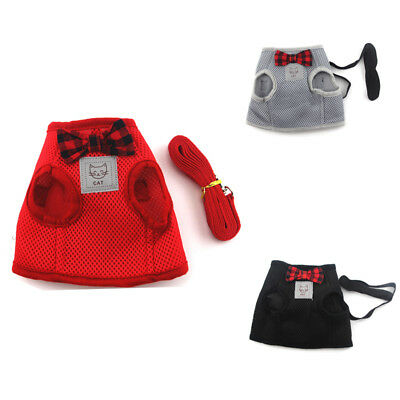 Mesh Pet Cat Harness Lead Set Puppy Dog Kitten Leash Vest Clothes Breathable