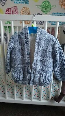 baby boy blue F and F knitted cardigan with hood. fleece lined 3 - 6 months