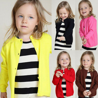 2017 New Autumn Spring Cotton Kids Sweater Candy-colored Cardigan Girls 1-6Y