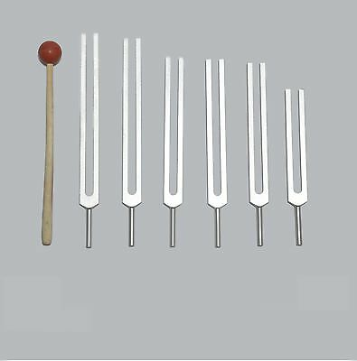 6 Pc Sacred Solfeggio Tuning forks incl 528 hz +Mallet for healing sound therapy