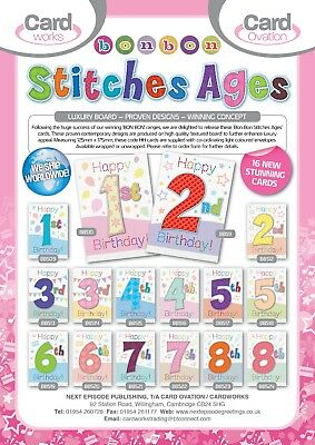 SUPERB AGE CARDS 1-8 boy / girl. JUST 27p, TEXTURED BOARD, WRAPPED, 96 cards