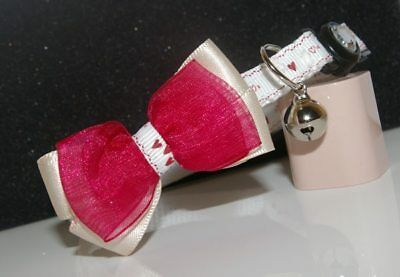 Little Hearts Dark Red  Adjustable Bow Quick Release Cat Collar