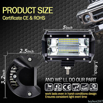 "5"" inch 72W LED light Bar Spotlight Pods Boat Truck Jeep Driving Lights IP67 AU"