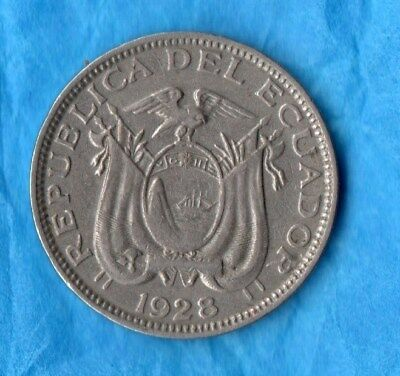 1928 Rare Republica Del Ecudor 10 Centavous Very Low Mintage