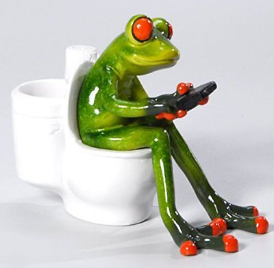 Frog with mobile phones on the toilet, Green, Artificial Stone Approx. 13 CM,